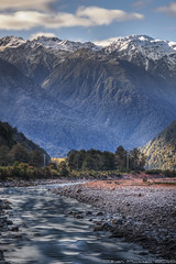 Going With The Flow (> Russ<) Tags: newzealand longexposure mountains otirariver ndfilter landscape rocks river water westcoast canon7d hdr alps winter southernalps snow