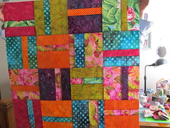 'Piece of Cake' blocks, top finish by Janie 2015 (crazyvictoriana) Tags: modern quilt blocks flimsy batiks