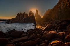 A little ray of sunshine.... (BlueberryAsh) Tags: light sunset sun sunlight seascape beach evening nikon rocks waves australia boulders phillipisland pinnacles lightshaft capewoolamai nikon24120 rayofsunshine cloudsstormssunsetssunrises nikond750