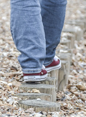"""Walk of Life"" (daisyglade) Tags: life beach boyfriend denim redshoes groynes walkoflife plimsoles fadedmemories direstraights"