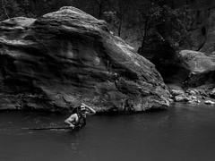Wading through the Narrows (Garen M.) Tags: friends water canyon hike zion zionnationalpark thenarrows olympusomdem1 zuikopro714mmf28