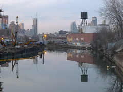 Gowanus Canal (jplangpictures) Tags: nyc brooklyn reflections construction watertower gowanuscanal april gowanus 2015 southbrooklyn 3rdstbridge