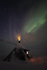 Firelight Under the Northern Lights (AliJG) Tags: winter night finland europe lapland kota auroraborealis nothernlights saana photographyworkshop photoquestadventures