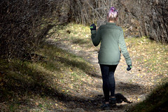 3 seasons of Bae - fall/purple (Justin van Damme) Tags: park autumn trees orange 3 mountains green fall up leaves three seasons purple hiking turtle path bare branches gloves winding bae leggings shut provincial scrunchy