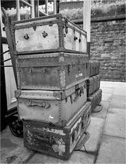 Cases (Mister Oy) Tags: old blackandwhite classic film monochrome vintage mediumformat mono platform railway ishootfilm fujifilm fp4 suitcases davegreen ilfordfp4 eastlancsrailway fujiga645wi oyphotos oyphotos