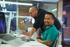 Tech Support Makes Me Happy (viece.remmington) Tags: toronto modern work asian fun office model support women technology photoshoot diverse tech designer contemporary small ui internet review working creative hipster young meeting indoor business company help technical laugh startup workplace casual discussion innovation ux collaboration easygoing designers employees smallbusiness 500px ifttt 500pxstaffmvp