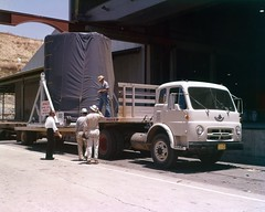 Thrust Section Arrival-------6-15-59; caption: thrust section , new arrival from Ft. Worth, 6-15-59 (San Diego Air & Space Museum Archives) Tags: atlas atlasmissile