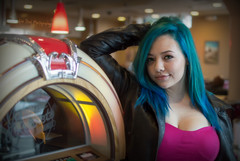 Jukebox Hero [Explore, April 27th 2015 #17] (Luv Duck - Thanks for 15M Views!) Tags: bigeyes monterey pretty jukebox californiagirls bluehair leatherjacket cutegirl prettygirl genevieve select beautifulgirl