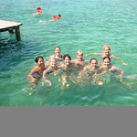 Students swimming while studying abroad.