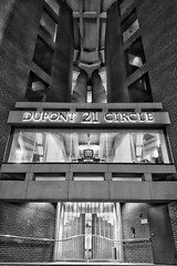 21 (Reg Photography4Lyfe) Tags: cameraphone city blackandwhite building sign architecture night photography lights evening design washingtondc entrance structure dupontcircle 2015 phonephotography phoneography xperiaz1s