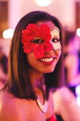 Jenni (Tom Williamson1) Tags: red portrait woman flower smile tom female canon ball photography diy photo lowlight dof mask f14 homemade photograph masquerade 6d mbb lowdepthoffield 5omm tomwilliamson