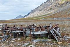 349 Day 3 Svalbard (brads-photography) Tags: abandoned landscape wooden cabin rust scenery rocks wheels scenic mining svalbard arctic trucks derelict spitsbergen wagons goldmining birdcliffs ingeborgfjellet