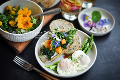 Breakfast with homemade bread (TailorTang) Tags: stilllife food breakfast bread 50mm salad peach homemade asparagus mango citrus borage kale nasturtium sunflowerseed 5014 foodphotography violas poachedegg edibleflower flaxseed hempseed chiaseed