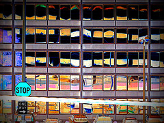 Stop One Way (rcvernors) Tags: lines reflections colorful all rick rights reserved rectangles childers distortedreflection rcvernors altereduniverse rickchilders 2016 2016rickchildersallrights 2016rickchildersallrightsreserved stoponeway