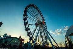 Sunset Wheel! (dazzbo1) Tags: chicago america usa ferris big carnival navy pier sunset cloud sky lights sarene beautiful
