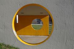Circles (j.caleb12) Tags: street city white abstract yellow circle downtown pentax density 18mm neutral k50