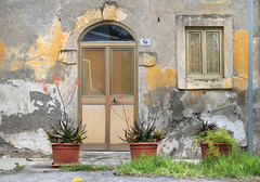 56 (Mona - B) Tags: road door old flowers italy plants reflection green window nature yellow architecture canon way landscape grey europe time cape sicily walls elevation capo faade overture ouverture milazzo