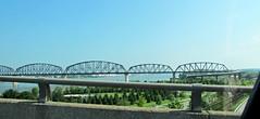 The Big Four Pedestrian & Bicycle Bridge (debstromquist) Tags: kentucky ky bridges rivers louisville ohioriver waterfrontpark refurbished throughthecarwindow newuse rhapsodicpoemsofhomernochildrenplease bigfourpedestrianbicyclebridge formerrailroadtrussbridge
