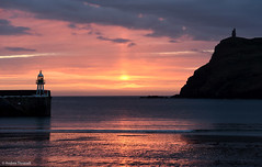 Sunset in Port Erin (manxmaid2000) Tags: sunset beach reflection pier braddahead isleofman sea harbour evening dusk reflections seaside coast coastal iom manx porterin harbor red cloudscape orange glow lighthouse warm golden water ocean serene peaceful shore jetty