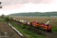 Rain-Soaked Belles (Jeff Carlson_82) Tags: railroad rain train grain railway iowa ia bluffs ge railfan bnsf grainelevator kcs southernbelle emd burlingtonnorthernsantafe gevo kansascitysouthern sd70ace es44ac pacificjunction