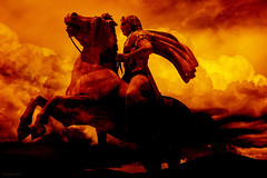 Red red wine. (df-stop.) Tags: red horse man art nature weather statue composite clouds photoshop canon dark blood war stormy greece macedonia epic billowing rearing alexanderthegreat caped mountedrider dfstop xortiaths