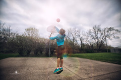 (Rebecca812) Tags: trees sun sports girl childhood playground basketball canon hoop ball court fun outdoors jump shoot child play basket cement lensflare girlpower midair athlete stopaction baller environmentalportait rebecca812