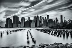 Lower Manhattan in 61 Seconds (keviikev) Tags: nyc newyorkcity longexposure blackandwhite brooklyn brooklynbridge waterblur lowermanhattan ndfilter brooklynbridgepark leefilter