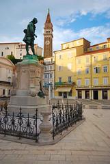 Tartini Square, Piran, Slovenia (West Tribe) Tags: piran slovenia europe european adriatic tartini square statue violin tower church