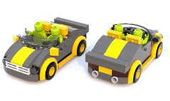 2 Seater Sports Car (Unijob Lindo) Tags: city blue two ford sports car digital speed lego designer render seat seats minifig mustang champions modded minifigure proportions ldd seater mudguards bluerender