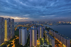 Gloomy blue hour (Jacobs LB Chong) Tags: morning blue skyline zeiss hour fujifilm hdb 2812 xt1 touit