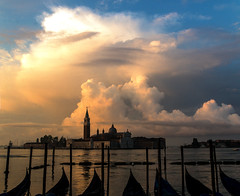 Beautiful Cloudy Dawn (Bacino di San Marco, Venice) (filippogatteschi) Tags: beautiful clouds cloudporn highlights shadows bacino di san marco giorgio island venezia venice dawn colors high contrast canon eos 70d bluesky yellow lit lighting early morning daylight sunlight reflecting stunning art beauty photography tamron 24 70 2470 urban landscape nature italy weather awesome gondola sea water sky natural elements time first light