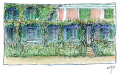 Wolfram Zimmer: Giverny, Monets home (ein_quadratmeter) Tags: pencil garden painting landscape drawing kunst jardin brush exhibition dessin peinture exhibitions monet colored freiburg landschaft garten giverny bleistift ausstellung zeichnung kirchzarten malerei bleistiftzeichnung pinsel meinzimmer konzeptkunst ausstellungen objektkunst farbstiftzeichnung burgbirkenhof wolframzimmer