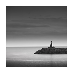On your head be it ! (Nick green2012) Tags: blackandwhite seascape square iceland long exposure breakwater