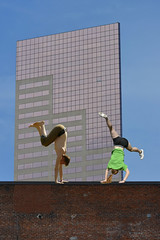 The Wall (swong95765) Tags: skyscrapper building wall brick guy man male female girl woman lady handstand balance