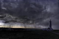 Storm Warning (explored 8/8/16) (MarkWaidson) Tags: nash point storm rain clouds moon sunrise lighthouse dark wales