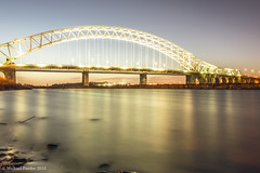 run111 (mickyfooj) Tags: longexposure water night canal runcorn halton runcornbridge silverjubileebridge