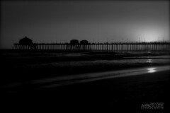 Last Light at the pier (Absolute Black&White) Tags: bridge light sunset blackandwhite art beach pier blackwhite lowlight waterfront low