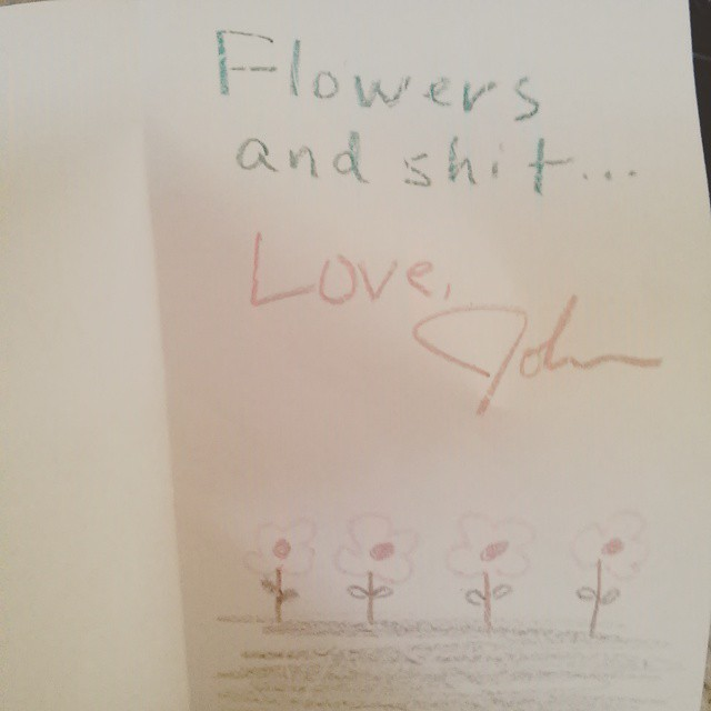 My homemade mothers day card. it had $2.00 in it, but really its priceless. Sorry for the bad language. Its just how he rolls.