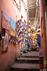 Plates & Paints - Marrakesh (JoeyHelms Photography •2.5MViews&10kFollowers•) Tags: africa street sunset people photoshop canon shopping photography market north morocco arab 7d marrakech medina marrakesh arabian lightroom joeyhelms joeyhelmsphotography
