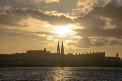 Sunset over the spires - DSC_0324 (John Hickey - fotosbyjohnh) Tags: sunset sky seascape skyline reflections coast waterfront outdoor nightscene settingsun sandycove irishsea dunlaoghaire 2016 reflectionsinwater churchspires may2016