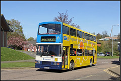 Goodbye my friend........ (Jason 87030) Tags: volvo olympian 16694 r694dnh doubledecker publictransport lodgeroad d2 langfarm mariecuire cancer nurses charity daventry northants northamptonshire council offices may daffodil blossom scene view 2016 yellow