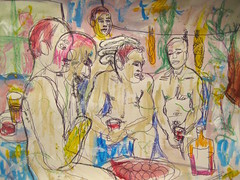 The Rum Club (giveawayboy) Tags: man male men art pool club swimming pen painting tampa sketch paint artist acrylic friendship drawing social scene patio rum crayon cdc rumcoke bathers fch giveawayboy billrogers