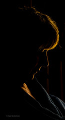 Reading in the shadows (Dave Beckenham) Tags: face silhouette female warm outline