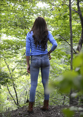 Desiree - Hike in the Woods (rbatina) Tags: blue trees pierced woman cute girl beautiful face tattoo forest mouth pose hair skinny outside outdoors nose model eyes woods long pretty legs skin little modeling body bare gorgeous ripped young may makeup posing 18th holes size jeans teen curly teenager denim torn brunette thin tight 18 build amateur petite 2016 rubbertoe