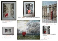 Schirmcollage Gaby Junker (gabyjunker226) Tags: wolken zaun acryl abstrakt schirm roterschirm