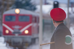 Coming from the high mountains (Pavel Valchev) Tags: street winter mountain snow mountains station composition track zoom sony platform railway 300mm telephoto bulgaria locomotive slt narrowgauge a57 rodopi velingrad 76mm sal55300