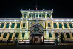 Saigon Post Office (axxonlive) Tags: city longexposure nightphotography travel light monument night landscape neon sony country structure vietnam saigon hochiminh lightroom travelandlife nex5t
