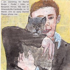 # 190 (08-07-2016) (h e r m a n) Tags: herman illustratie tekening bock oosterhout zwembad 10x10cm 3651tekenevent tegeltje drawing illustration karton carton cardboard kat cat jongen boy