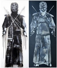 URBAN SAMURAI - STREET + STENCILS, 2015, 200 x 82cm, spray can & acrylic on mdf.