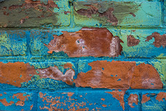 Missing (Light Collector) Tags: ontario canada abstract brick loss wall mural peeling paint deterioration creemore simcoecounty clearviewtownship